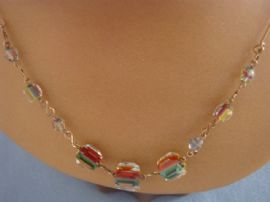 1930s Rainbow Crystal Bead Necklace with Rolled Gold Wires  (SOLD)